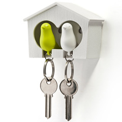 Держатель+брелок для ключей двойной Sparrow белый-зеленый Qualy QL10124-WH-WH-GN