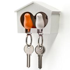 Держатель+брелок для ключей двойной Sparrow белый-оранж Qualy QL10124-WH-WH-OR
