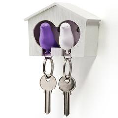 Держатель+брелок для ключей двойной Sparrow белый-фиолетовый Qualy QL10124-WH-WH-PU