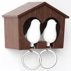 Держатель+брелок для ключей двойной Sparrow коричневый-белый Qualy QL10124-BN-WH