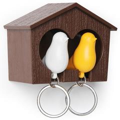 Держатель+брелок для ключей двойной Sparrow коричневый-белый-желтый Qualy QL10124-BN-YW