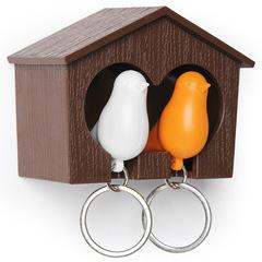 Держатель+брелок для ключей двойной Sparrow коричневый-белый-оранжевый Qualy QL10124-BN-OR