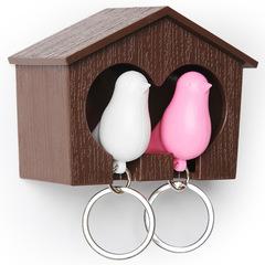 Держатель+брелок для ключей двойной Sparrow коричневый-белый-розовый Qualy QL10124-BN-PK