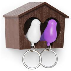 Держатель+брелок для ключей двойной Sparrow коричневый-белый-фиолетовый Qualy QL10124-BN-PU