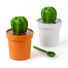 Емкость для хранения Cacnister с ложкой, белая с зеленым Qualy QL10280-WH-GN