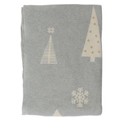 Плед из хлопка с новогодним рисунком Christmas tree из коллекции New Year Essential, 130х180 см Tkano TK20-TH0002