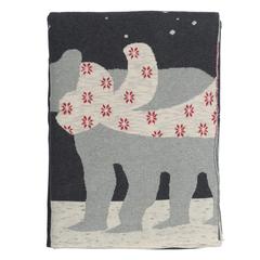 Плед из хлопка с новогодним рисунком Polar bear из коллекции New Year Essential, 130х180 см Tkano TK20-TH0001