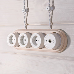 Ретро кабель витой 2х1,5 (белый) 50 м Ретро кабель витой  2х1,5  (белый) Werkel