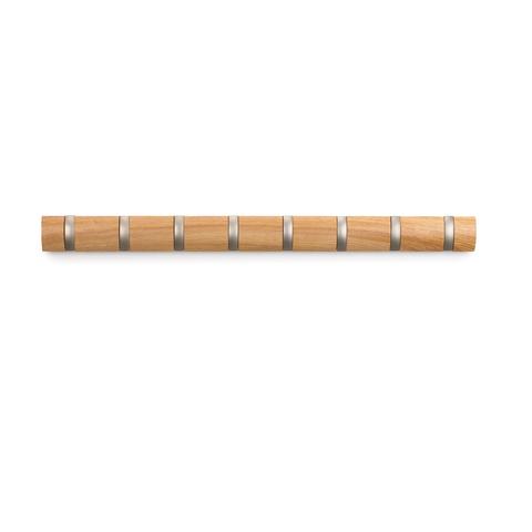 Вешалка настенная горизонтальная Flip 8 крючков натуральное дерево Umbra 318858-390