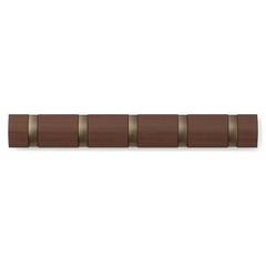 Вешалка настенная горизонтальная Flip 5 крючков коричневая Umbra 318850-1227*