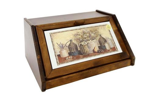 Деревянная хлебница с керамическими вставками Натюрморт 14372