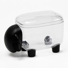 Контейнер для мелочей Sheepshape, черный с прозрачной крышкой Qualy QL10259-CL-BK