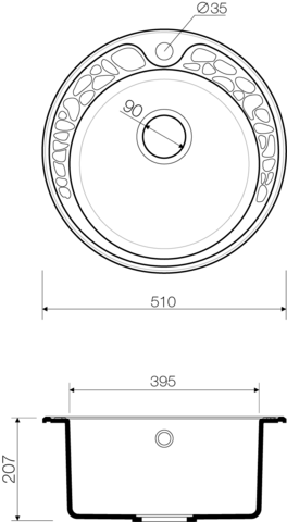 Кухонная мойка из искусственного гранита (Artgranit) OMOIKIRI Tovada 51-SA (4993412)