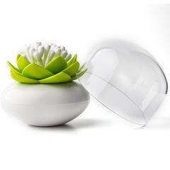 Контейнер для хранения ватных палочек Lotus белый-зеленый Qualy QL10157-WH-GN