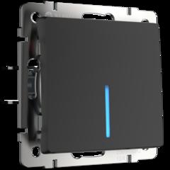 Выключатель одноклавишный проходной с подсветкой (черный матовый) WL08-SW-1G-2W-LED Werkel