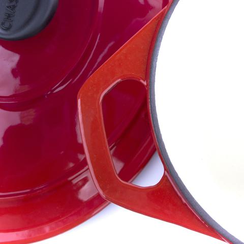 Кастрюля с крышкой чугунная 28см (6,3л), с эмалированным покрытием, CHASSEUR Rubin (цвет: алый) арт. 372808