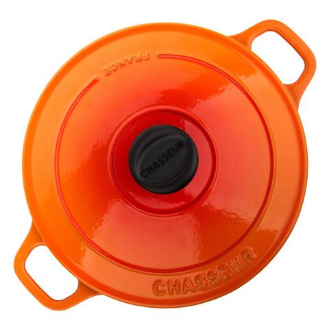 Кастрюля с крышкой чугунная 24см, (3,8л), с эмалированным покрытием, CHASSEUR Orange (цвет: оранжевый) арт. 372407