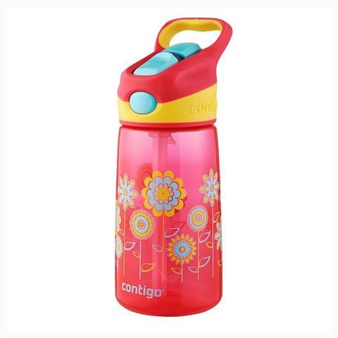 Детская бутылочка Contigo Striker (0.42 литра), цветы, розовая
