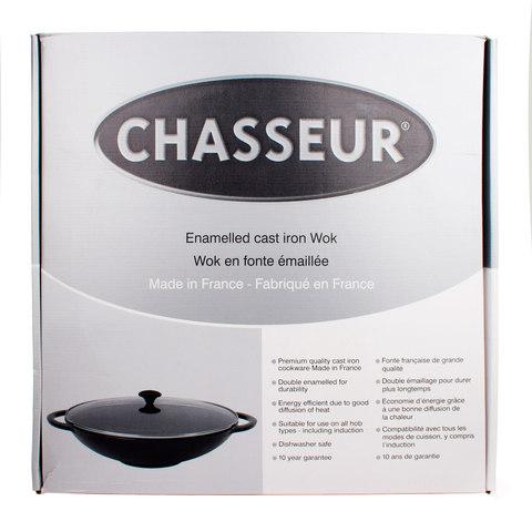 Вок чугунный 37 см, с эмалированным покрытием, крышка стеклянная, CHASSEUR Rubin (цвет: алый) арт. 103708