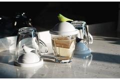 Чашка с крышкой Sparrow, белая с зеленым Qualy QL10300-WH-GN