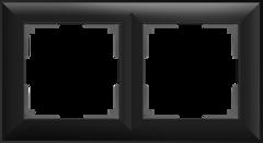 Рамка на 2 поста (черный матовый) WL14-Frame-02 Werkel