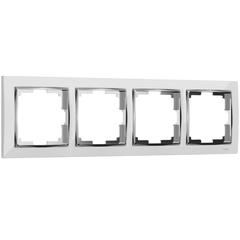 Рамка на 4 поста (белый/хром) WL03-Frame-04-white Werkel