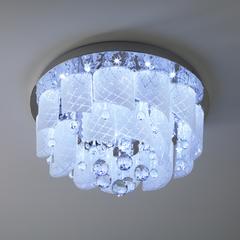 Потолочный светильник с хрусталем и пультом Eurosvet Cascade 80117/8 хром/белый