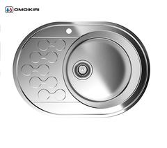 Кухонная мойка из нержавеющей стали OMOIKIRI Kasumigaura 65-1-IN-R (4993001)