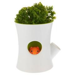 Горшок самополивающийся Log&Squirrel белый-зеленый Qualy QL10075-WH-GN