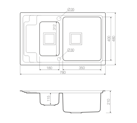 Кухонная мойка из нержавеющей стали OMOIKIRI Mizu 78-2-R (4993004)