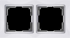 Рамка на 2 поста (белый/хром) WL03-Frame-02-white Werkel