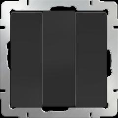 Выключатель трехклавишный  (черный матовый) WL08-SW-3G Werkel