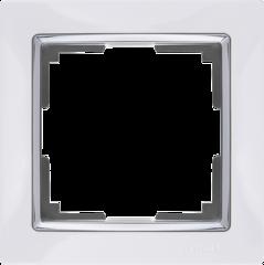 Рамка на 1 пост (белый/хром) WL03-Frame-01-white Werkel