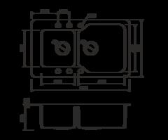 Кухонная мойка из искусственного гранита (Tetogranit) OMOIKIRI Maru 86-2-DC (4993288)