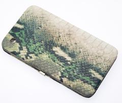 Маникюрный набор GD, 7 предметов, кожаный футляр, цвет зеленый, рептилия 1544SN-3