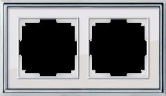 Рамка на 2 поста (хром/белый) WL17-Frame-02 Werkel