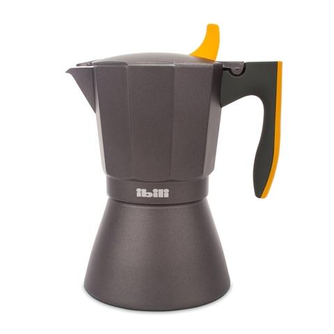 Кофеварка гейзерная на 9 чашек, алюминий, для индукционных плит, ручка оранжевая IBILI Sensive арт. 622209