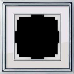 Рамка на 1 пост (хром/белый) WL17-Frame-01 Werkel
