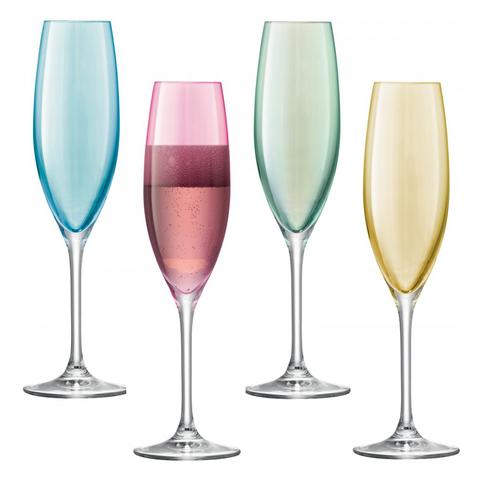 Бокал-флейта для шампанского Polka 4 шт. пастельный LSA G978-08-294