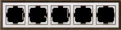 Рамка на 5 постов (бронза/белый) WL17-Frame-05 Werkel