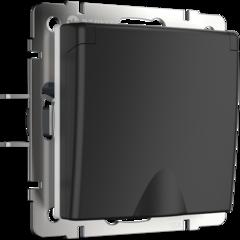 Розетка влагозащ. с зазем. с защит. крышкой и шторками  (черный матовый) WL08-SKGSC-01-IP44 Werkel