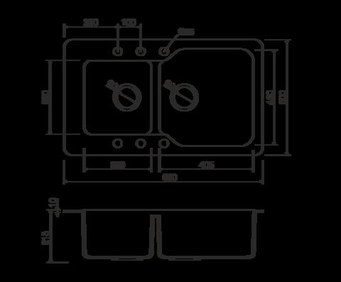 Кухонная мойка из искусственного гранита (Tetogranit) OMOIKIRI Maru 86-2-WH (4993287)