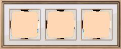 Рамка на 3 поста (золото/белый) WL17-Frame-03 Werkel