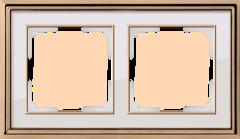 Рамка на 2 поста (золото/белый) WL17-Frame-02 Werkel