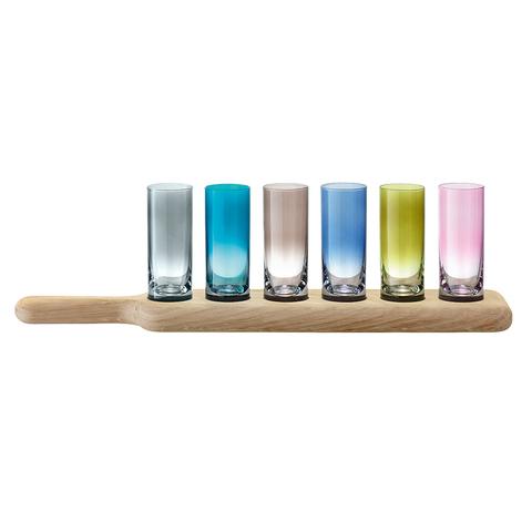 Набор из 6 стопок и деревянной подставки Paddle цветной | натуральное дерево LSA G1049-03-666