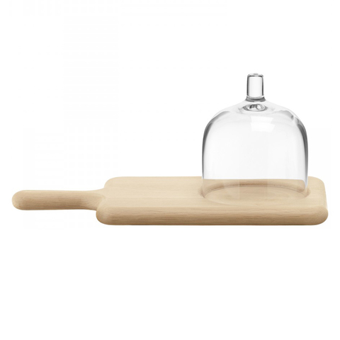 Набор из сервировочного блюда и стеклянного купола Paddle натуральное дерево LSA G1163-35-301