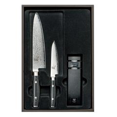 Набор из 2 кухонных ножей YAXELL RAN и точилки арт. YA36000-003