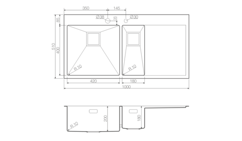 Кухонная мойка из нержавеющей стали OMOIKIRI Akisame 100-2-LG-L (4993089)