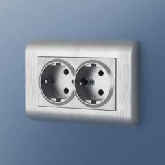 Рамка для двойной розетки (серебряный) WL12-Frame-01-DBL Werkel