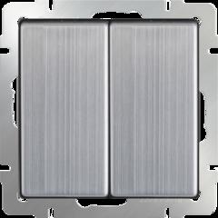 Выключатель двухклавишный проходной (глянцевый никель) WL02-SW-2G-2W Werkel